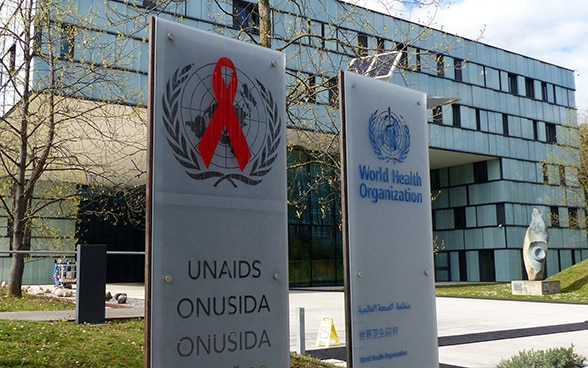 Façade of the headquarters of the World Health Organisation and the Joint United Nations Programme on HIV/AIDS.