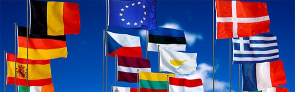 Flags of different EU-member states.