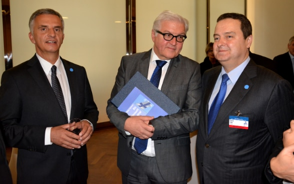 The OSCE Troika in 2015 is composed of Didier Burkhalter, Ivica Dačić and Frank-Walter Steinmeier. © MFA Serbia