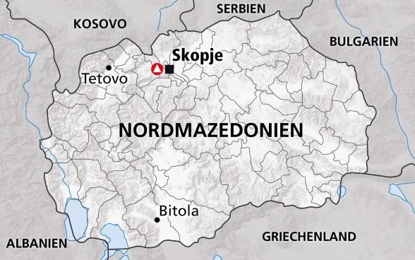 Mazedonien Karte.Nordmazedonien