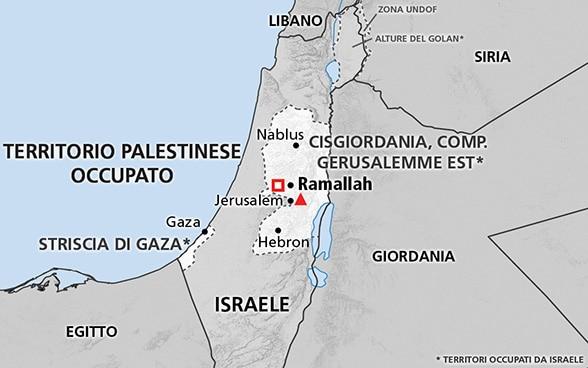 Cartina Politica Palestina.Territorio Palestinese Occupato