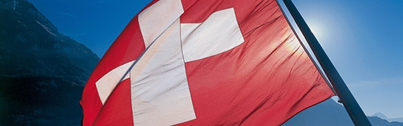 Swiss national flag on a steam boat