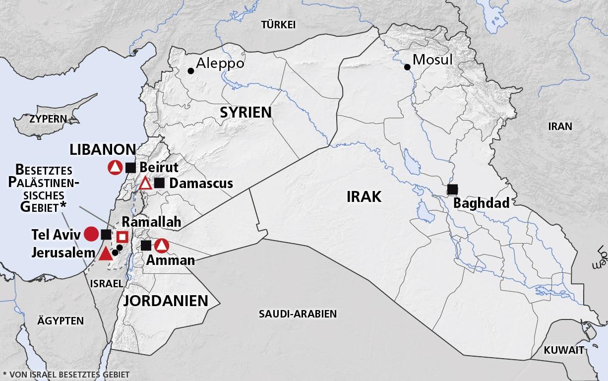 syrien karte aktuell 2020 Mittlerer Osten (Syrien, Libanon, Jordanien, Irak)