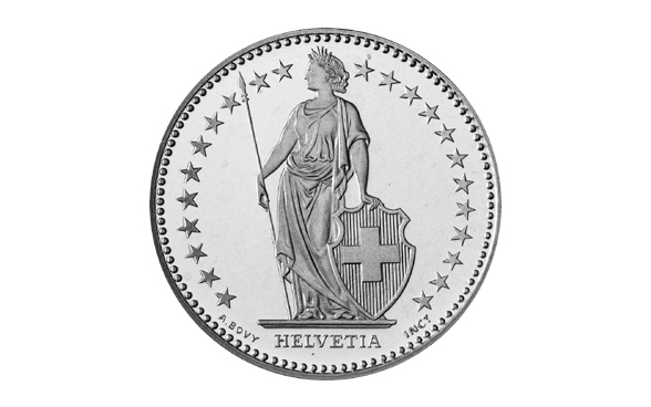Helvetia on the 2 Swiss franc piece