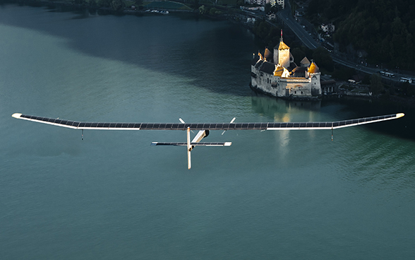 The Solar Impulse aircraft over the Lake of Geneva