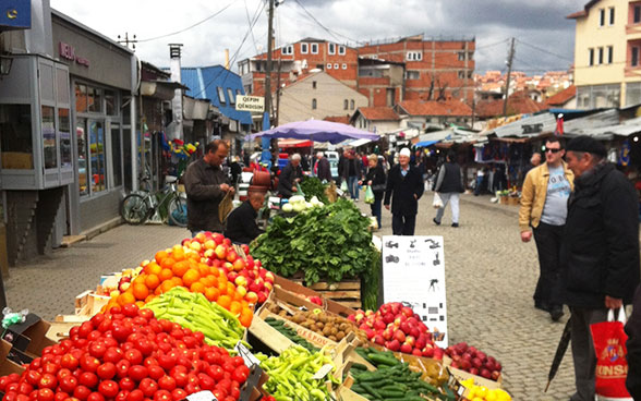 View of a market in Pristina.