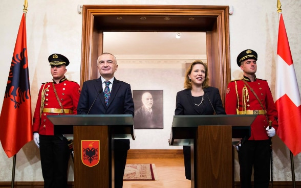 Head of Swiss Parliament Christa Markwalder and Speaker of Albanian Parliament Ilir Meta