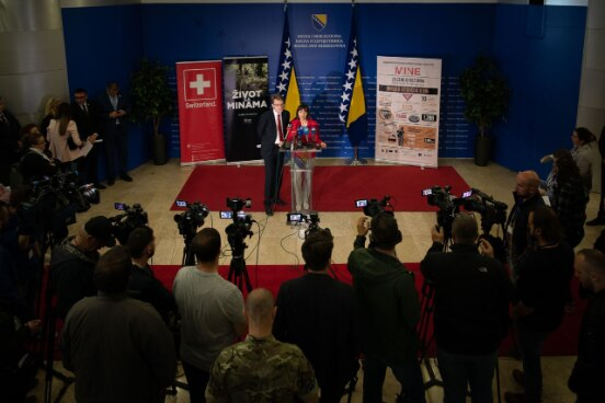 The Ambassador Andrea Rauber Saxer during the ceremony on the occasion of the International Mine Awarness Day in the BiH Parliament