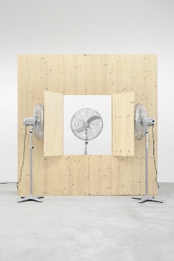 (2012, 280 × 280 × 240cm, wooden construction and three fans),