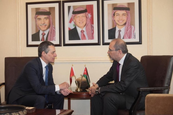 Swiss Foreign Minister meets with H E  Mr  Ayman Safadi, Minister of