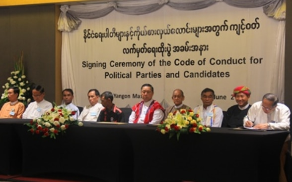 Myanmar Elections 2015 - Signing Ceremony of the Code of Conduct for Political Parties and Candidates