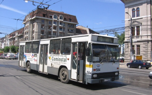 Public transportation by diesel buses in Cluj-Napoca, Romania