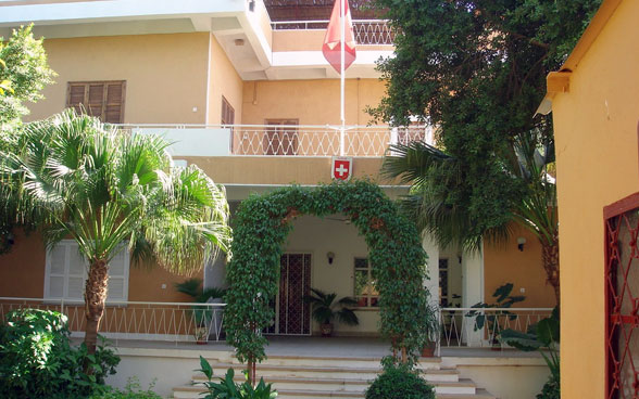View of the building of the Embassy of Switzerland in Khartoum