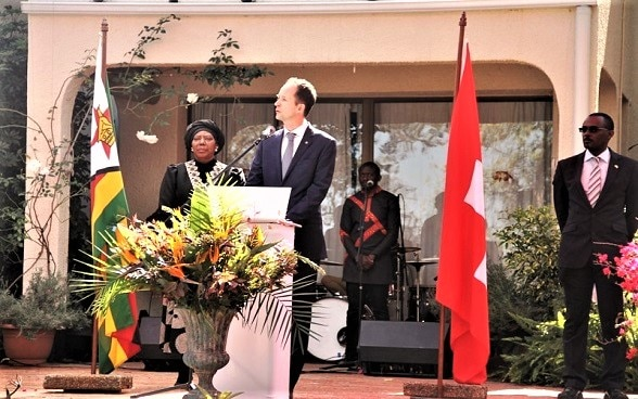 Ambassador of Switzerland to Zimbabwe and Malawi, Mr. Niculin Jäger, addressing guests at the 728th Swiss National Day celebrations in Harare.