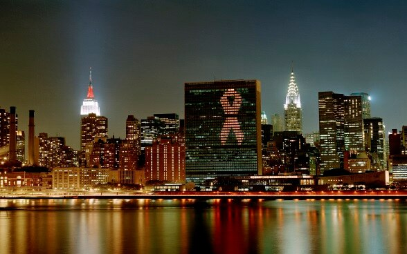 United Nations Headquarters lit up with the AIDS red ribbon.