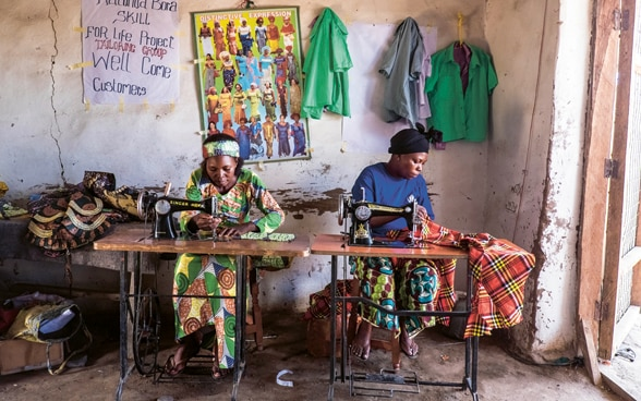 Two women working with sewing machines in Kenya
