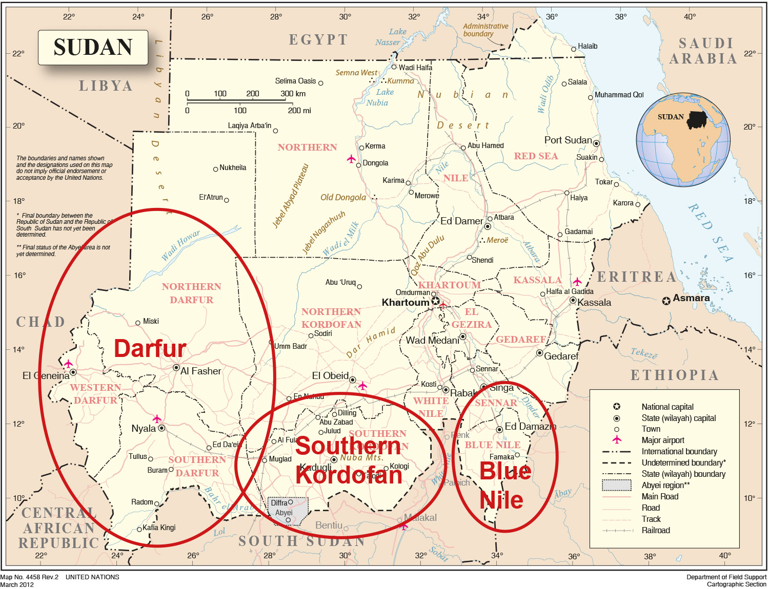 Areas of SDC activities in Sudan
