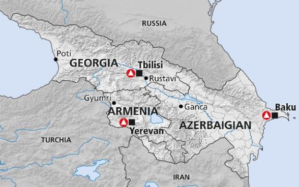 Cartina Geografica Europa Meridionale.Caucaso Meridionale Georgia Armenia Azerbaigian