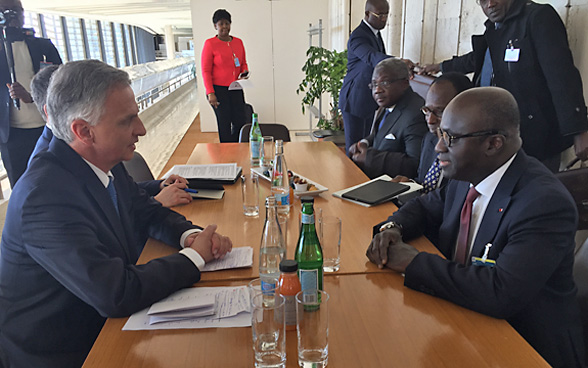 Meeting between Didier Burkhalter and the Foreign Minister of Côte d'Ivoire, Marcel Amon-Tanoh.
