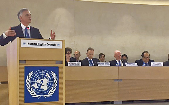Federal Councillor Didier Burkhalter opens the 34th session of the Human Rights Council on Monday 27 February 2017 in Geneva.