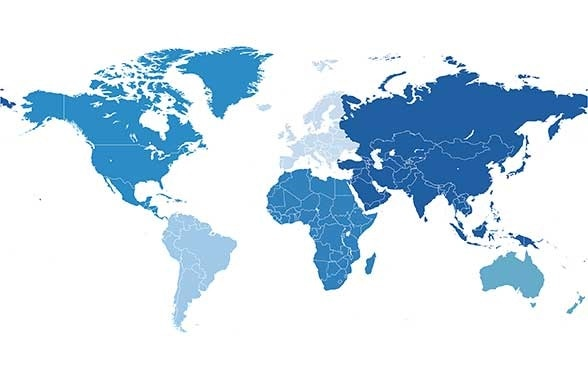 World map with six continents (Africa, Asia, Australia and Oceania, North America, South America, without Antarctica).