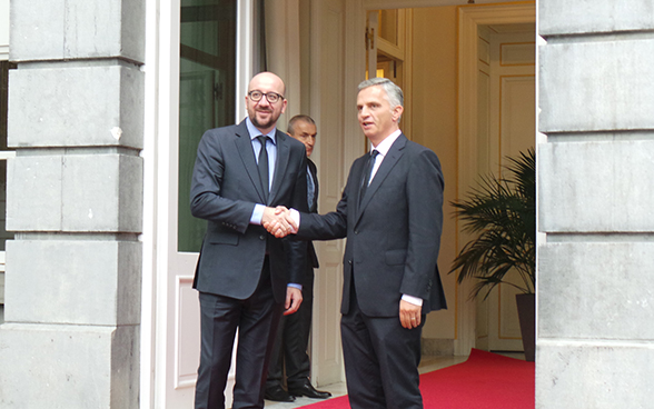 Didier Burkhalter with the Belgian Prime Minister Charles Michel.