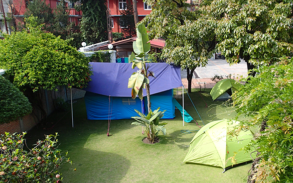Tents in the Swiss embassy compound in Kathmandu.