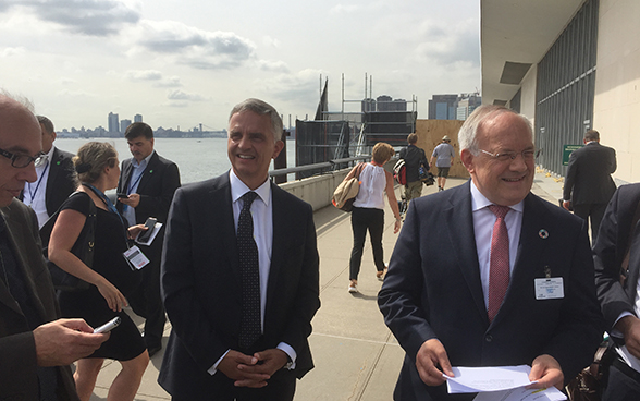 President of the Swiss Confederation Johann N. Schneider-Ammann and Federal Councillor Didier Burkhalter attend the UN General Assembly in New York.