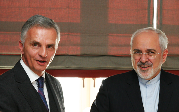 Federal Councillor Didier Burkhalter and the Iranian Minister of Foreign Affairs, Jawad Zarif. © FDFA