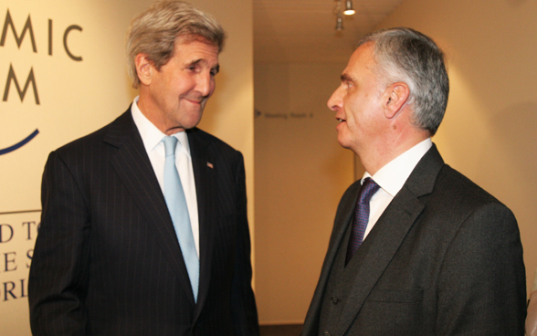 Federal Councillor Didier Burkhalter and US Secretary of State John Kerry. © FDFA