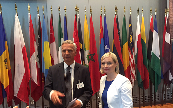 Federal Councillor Didier Burkhalter  with Icelandic Minister for Foreign Affairs Lilja Dögg Alfreosdottir.