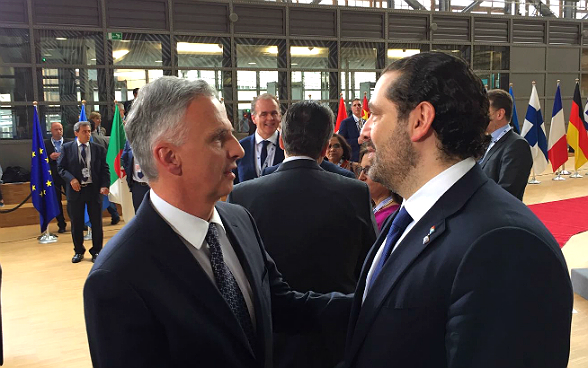 Federal Councillor Burkhalter meeting the Lebanese Prime Minister Saad Hariri during the Brussels conference on Syria.