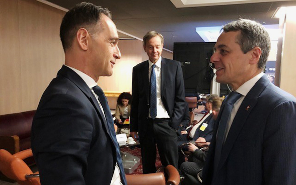 Head of the Federal Department of Foreign Affairs Ignazio Cassis with his German counterpart Heiko Maas.