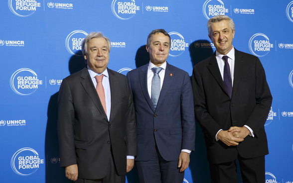 U.N. Secretary-General Antonio Guterres (left), UN High Commissioner for Refugees Filippo Grandi (right), and Swiss Foreign Minister Ignazio Cassis.