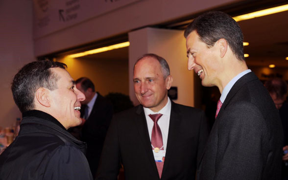 Meeting with Crown Prince Alois de Liechtenstein (right) and Head of Government Adrian Hasler.