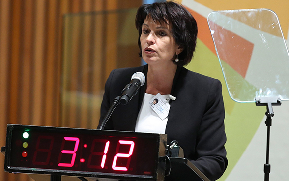 Federal Councillor Doris Leuthard giving a speech at the UN Climate Summit 2014 in New York.