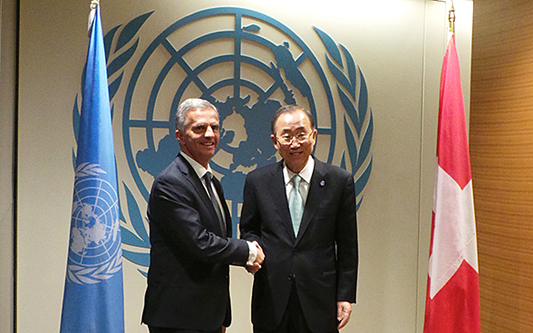 The President of the Swiss Confederation, Didier Burkhalter, during a meeting with the UN Secretary-General Ban Ki-moon at the 69th session of the UN General Assembly in New York.