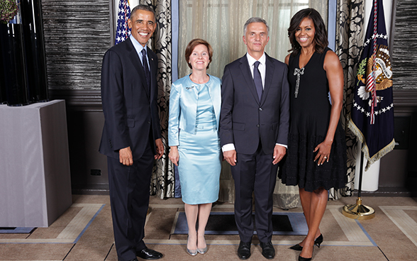 Didier and Friedrun Sabine Burkhalter with Barack and Michelle Obama.