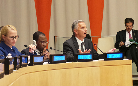 Swiss President Didier Burkhalter speaking at a side event to the 69th UN General Assembly on the possible limitation of veto rights for the members of the UN Security Council.