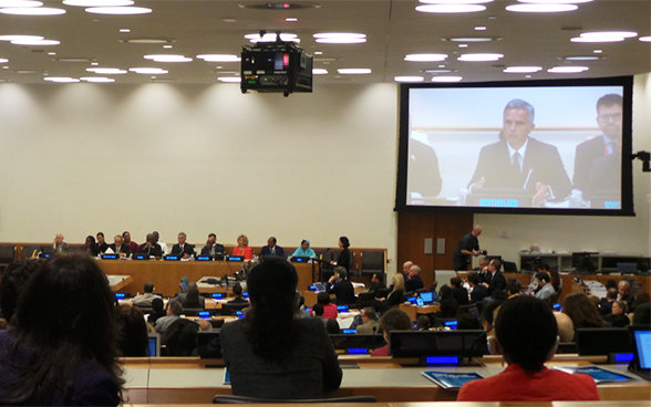 The President of the Swiss Confederation, Didier Burkhalter, speaks about measures to fight HIV/AIDS at the UNAIDS side event as part of the high-level week of the 69th session of the UN General Assembly.