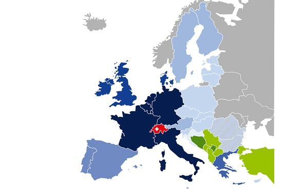 Colour-coded map showing stages of EU enlargement